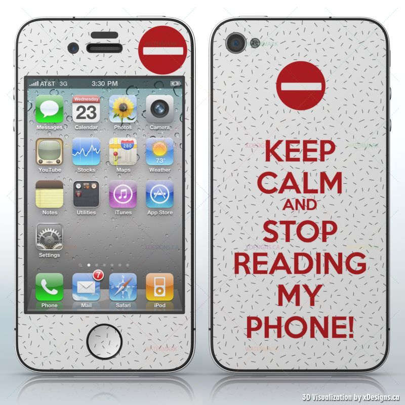 KEEP CALM AND STOP READING MY PHONE! , White background with dots and stop  sign , Cell Phones / Apple iPhone 4/4S/4G decal skin wrap sticker, Keep
