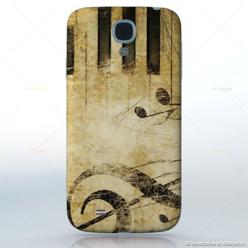 Music is my Life , Light background with black music symbols , Cell Phones  / Samsung Galaxy S4 decal skin wrap sticker, Music
