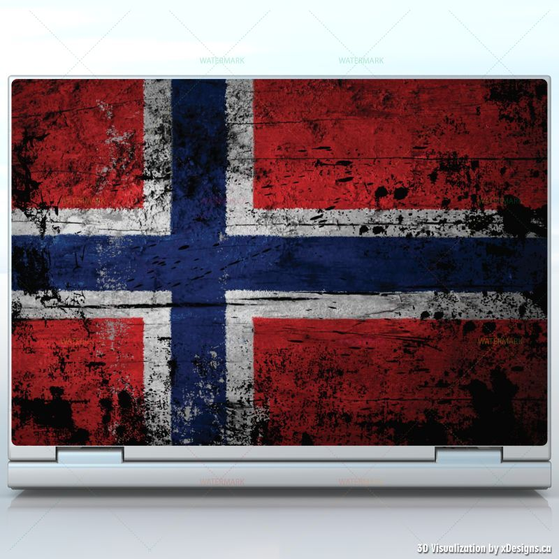 Norwegian Wood Flag Pattern , Norway Flag like old paint , laptops / custom  size laptop decal skin wrap sticker, Flags / Countries