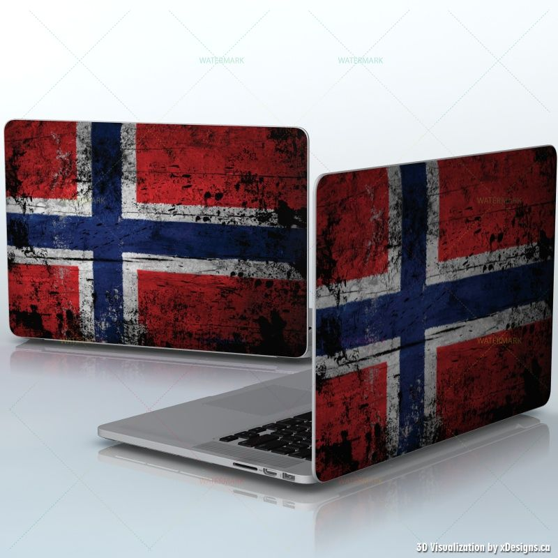 Norwegian Wood Flag Pattern , Norway Flag like old paint , laptops / Apple  MacBook Pro 15 decal skin wrap sticker, Flags / Countries