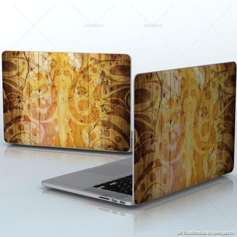 Retro Paint , Yellow flower pattern , laptops / Apple MacBook Pro 15 decal  skin wrap sticker, Abstract / Colorful