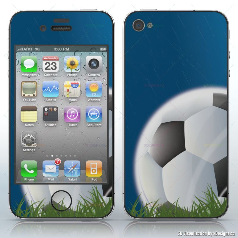 Soccer ball in Rain , For the soccer lovers , Cell Phones / Apple iPhone  4/4S/4G decal skin wrap sticker, Sport