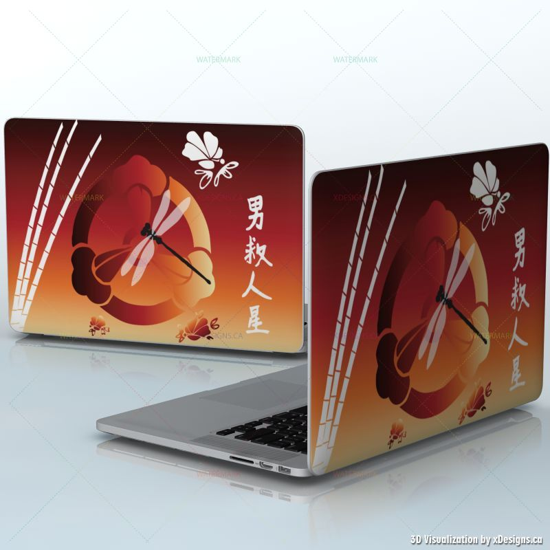 Sunset Dragonfly Japanese Symbols And Pattern Laptops Apple