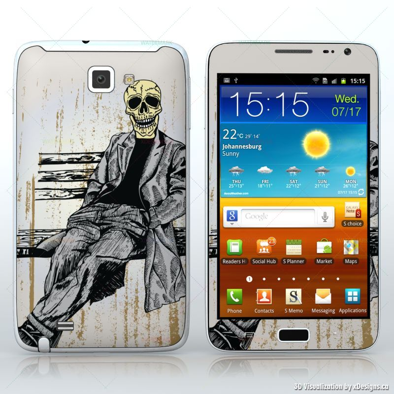 Waiting for You , Sitting skeleton in suit , Tablets / Samsung Galaxy Note  decal skin wrap sticker, Skulls / Horror