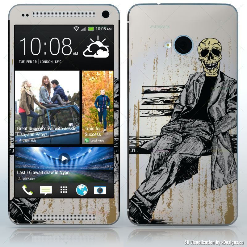 Waiting for you sitting skeleton in suit cell phones htc one 2013 decal skin wrap sticker skulls horror