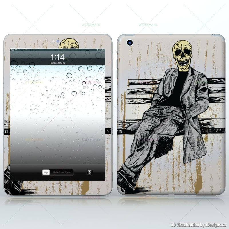Waiting for you sitting skeleton in suit tablets apple ipad mini decal skin wrap sticker skulls horror